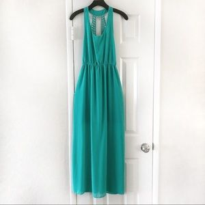 Lost April Anthropologie Open Back Teal Maxi Dress